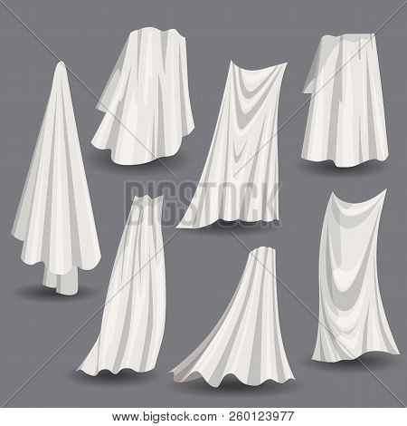 Set Of Fluttering White Cloths, With Folds Soft Lightweight Clear Material Isolated Vector Illustrat