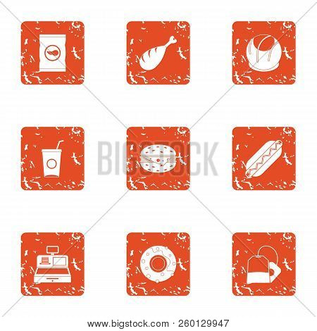Retail Dealer Icons Set. Grunge Set Of 9 Retail Dealer Icons For Web Isolated On White Background