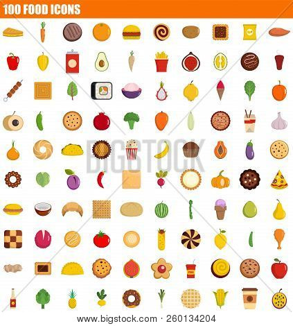 100 Food Icon Set. Flat Set Of 100 Food Icons For Web Design