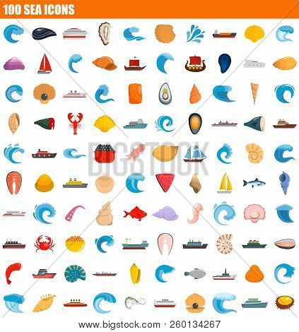 100 Sea Icon Set. Flat Set Of 100 Sea Icons For Web Design