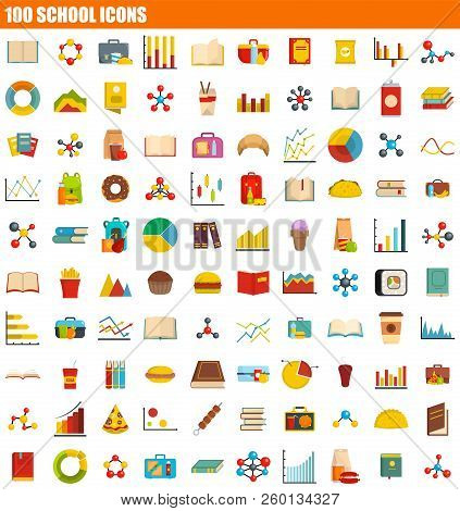 100 School Icon Set. Flat Set Of 100 School Icons For Web Design