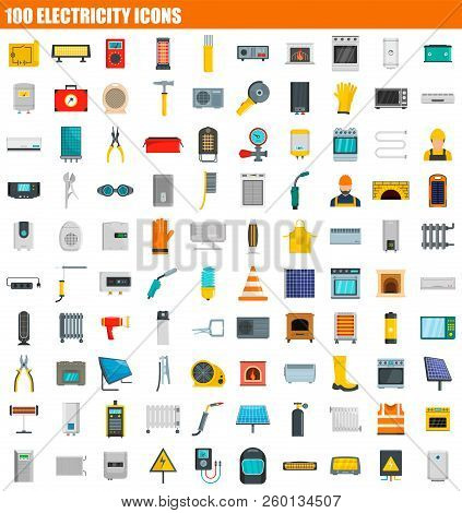 100 Electricity Icon Set. Flat Set Of 100 Electricity Icons For Web Design