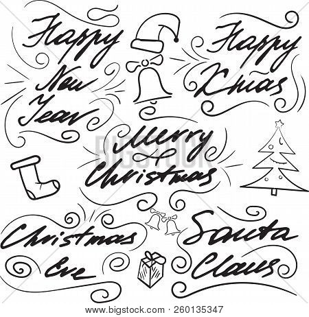Set Of Lettering For Christmas Cards And Congratulations. Hand Drawing. Elements Of Design. A Cap, A