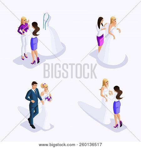 Isometric Man And Woman Preparing For The Wedding, The Bride And Groom, Fitting The Dress, Sewing Wo