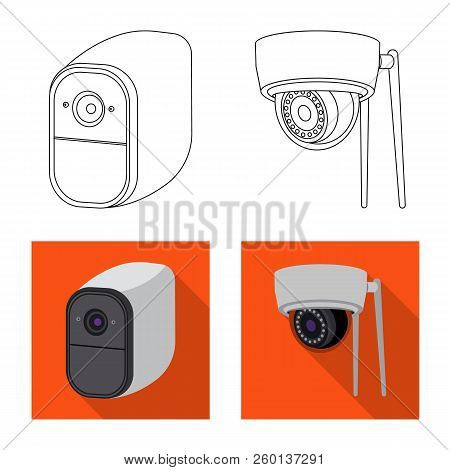 Vector Illustration Of Cctv And Camera Symbol. Collection Of Cctv And System Stock Symbol For Web.