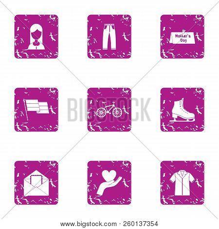 Wedding Ceremony Icons Set. Grunge Set Of 9 Wedding Ceremony Icons For Web Isolated On White Backgro