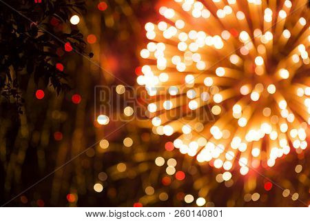 Colorful Firework. Amazing Fireworks With Bokeh From Drops On The Lens, Fireworks 2019, Fireworks Ba