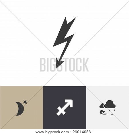Set Of 4 Editable Weather Icons. Includes Symbols Such As Rainstorm, Sagittarius, High Voltage And M