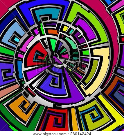 Background With Abstract Image Of Color Abstract Spiral Consisting Of Lines And Figures