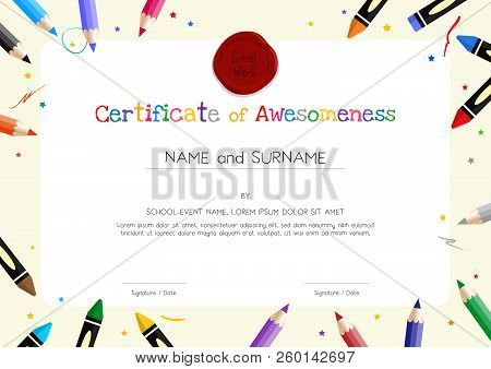 Kids Diploma Or Certificate Template With Painting Stuff Border