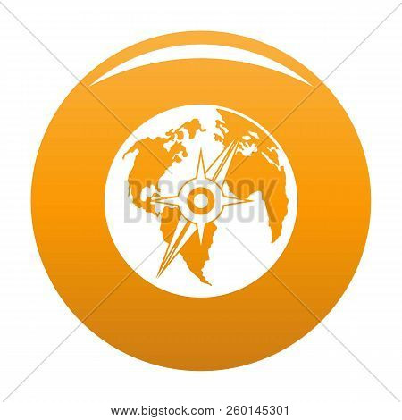 Compass On Earth Icon. Simple Illustration Of Compass On Earth Icon For Any Design Orange