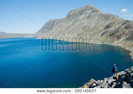 Mountains And Gjende Lake, Besseggen Ridge, Jotunheimen National Park, Norway