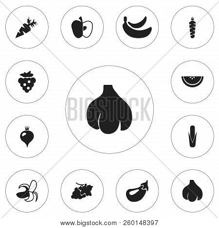 Set Of 12 Editable Dessert Icons. Includes Symbols Such As Muskmelon, Jonagold, Carrot And More. Can