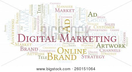 Word Cloud With Text Digital Marketing. Wordcloud Made With Text Only.