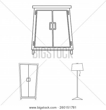Vector Illustration Of Furniture And Apartment Icon. Set Of Furniture And Home Vector Icon For Stock