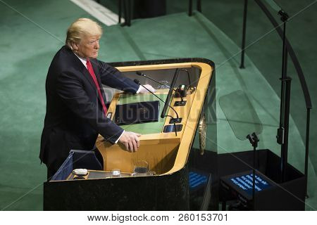 New York, Usa - Sep 25, 2018: President Of The United States Donald Trump During The 73th Session Of