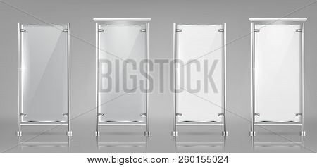 Vector Set Of Empty Glass Banners On Metal Racks, Transparent And White Displays Isolated On Backgro