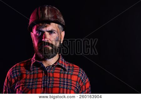 Labour And Heavy Industry Concept. Man With Serious Face
