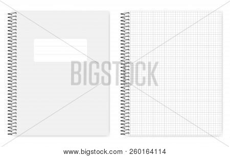 Wire Bound Grid Lined Notebook, Realistic Vector Mockup. Metal Spiral Binding Note Book, Mock Up. Lo