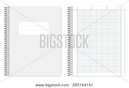 Wire Bound Quad Ruled Cross Section Notebook, Realistic Vector Mockup. Metal Spiral Binding Note Boo