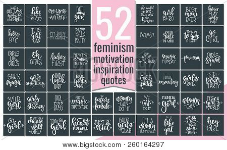 Set With Hand Drawn Feminism Typography Poster Or Cards. Conceptual Handwritten Phrase.t Shirt Hand