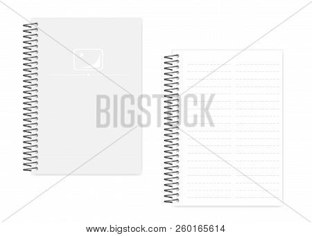 Two Column Dashed Line Spiral Notebook With Side Perforation Sheets, Realistic Vector Mockup. Wire B
