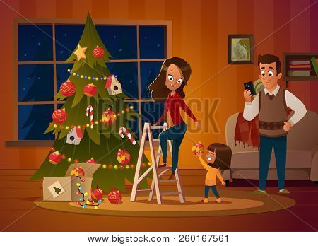 Happy Family Mom, Dad And Doughter Dresses Up Christmas Tree. The Boy Unwinds The Garland. Family In