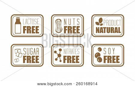 Vector Set Of 6 Ingredient Warning Labels. Common Allergens Lactose, Nuts, Sugar, Nitrates And Soy.