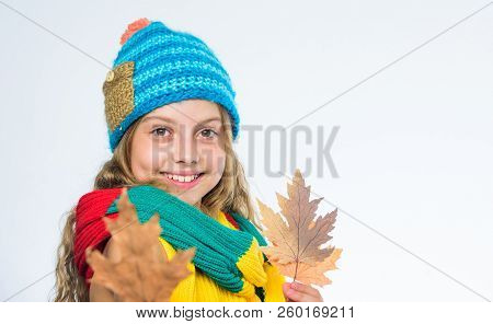 Bright Accessory. Be Bright This Autumn. Girl Happy Face Wear Bright Knitted Hat And Scarf Hold Fall