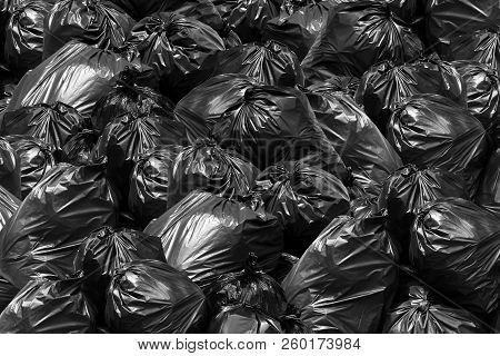 Background Garbage Bag Black Bin, Garbage Dump, Bin,trash, Garbage, Rubbish, Plastic Bags Pile Junk