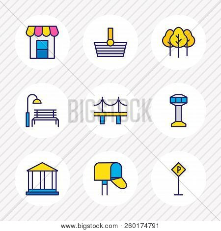 Illustration Of 9  Icons Colored Line. Editable Set Of Academy, Parking Sign, Storefront And Other I