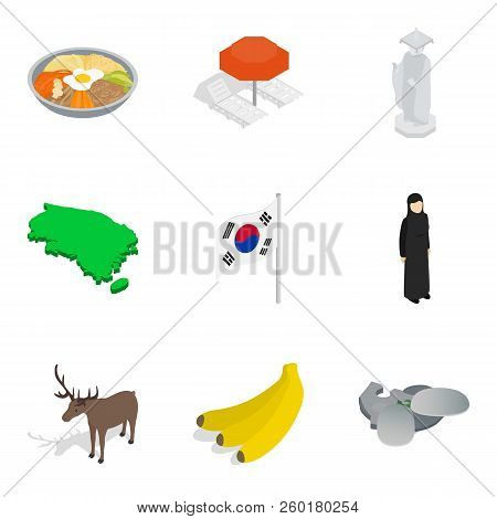 Foreign Icons Set. Isometric Set Of 9 Foreign Icons For Web Isolated On White Background