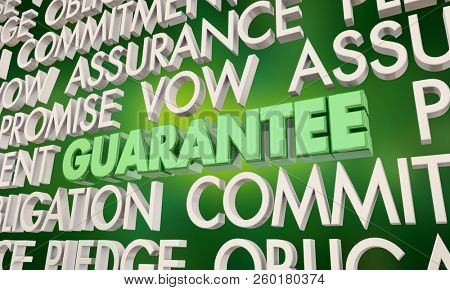 Guarantee Promise Vow Pledge Word Collage 3d Illustration poster