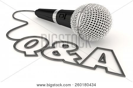 Q&A Questions and Answers Session Get Info Microphone Word 3d Illustration