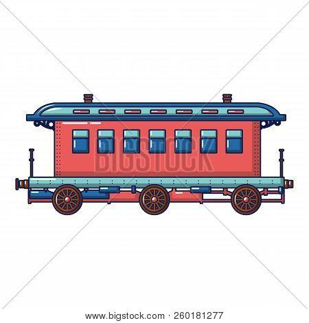 Old Fashion Passenger Wagon Icon. Cartoon Of Old Fashion Passenger Wagon Icon For Web Design Isolate