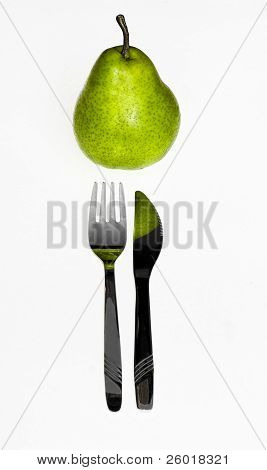 Pear with knife and fork