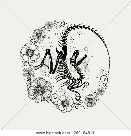 Graphic Print Of Velociraptor Skeleton And Flowers