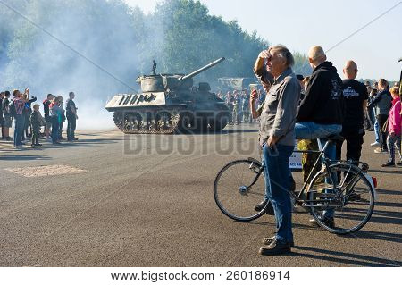 Enschede, The Netherlands - 01 Sept, 2018: People Watching Tanks Rolling By From The Second World Wa