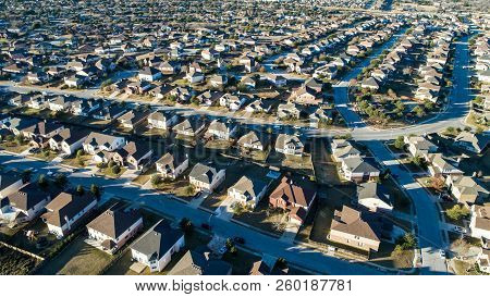 Curved Street On Neighborhood Layout Urban Development Aerial Drone View High Above Suburb Neighborh