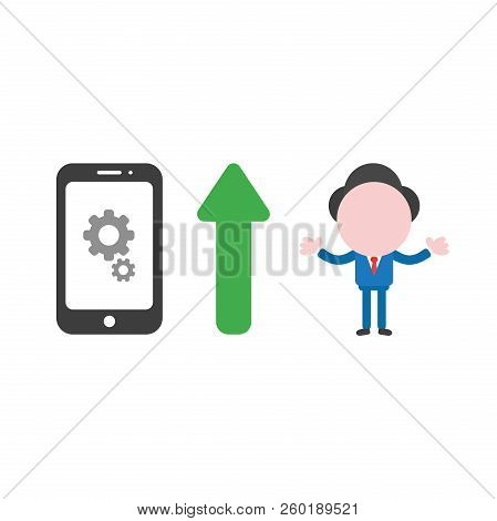 Vector Illustration Of Businessman Character With Gears Inside Smartphone Icon And Green Arrow Point
