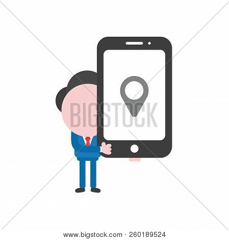 Vector Illustration Of Businessman Character Holding Black Smartphone With Grey Map Pointer Icon.