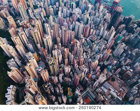 Aerial View Of Hong Kong Downtown. Financial District And Business Centers In Smart City In Asia. To