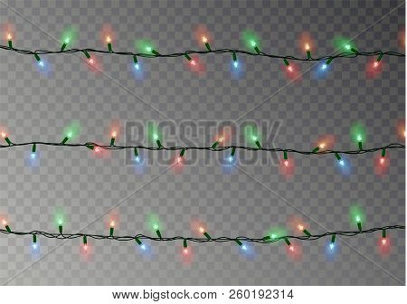 Christmas Color Lights String. Transparent Effect Decoration Isolated On Dark Background. Realistic