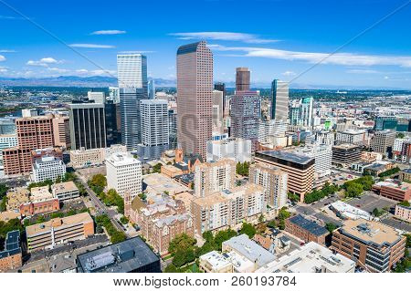 Aerial Drone View In Denver , Colorado , Downtown Skyline Cityscape When Old Meets New. Modern Skysc