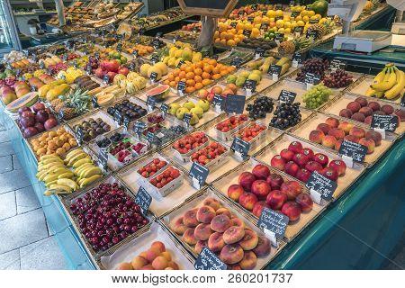 Munich, Germany - May 13, 2017: Munich Germany, Fruits Shop At Victuals Market (viktualienmarkt)