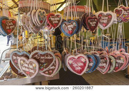 Munich, Germany - May 13, 2017: Munich Germany, Gingerbread Heart Or Lebkuchenherz The Typical Souve