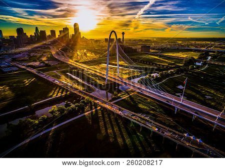 Once In A Lifetime Sun Beams At Sunrise High Above Dallas , Texas , Aerial Drone View Next To Suspen
