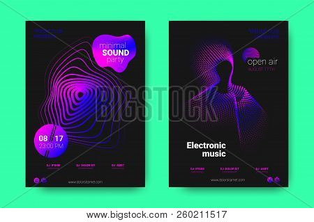 Poster Of Electronic Music Night Party. Abstract Vector Background. Colorful Wave Lines And Equalize