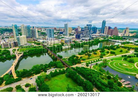 Green Nature Meets City Aerial Drone View High Above Capital City Of Austin , Texas , Usa Modern Arc