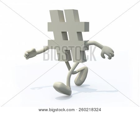 Hashtag Symbol With Arms And Legs On A White Background, 3d Illustration